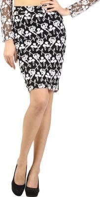 Ozel Embroidered Women's Regular Black, White Skirt