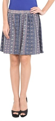 Pryma Donna Printed Women's Pleated Blue Skirt