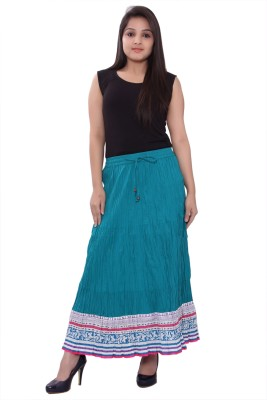 A&K Printed Women's Pleated Green Skirt at flipkart
