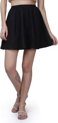GarrB Solid Women's Peplum Black Skirt