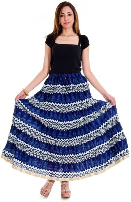 Halowishes Printed Girls Wrap Around Blue Skirt