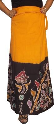 KheyaliBoutique Floral Print Women's Wrap Around Yellow, Black Skirt
