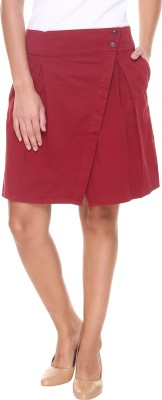 Alibi By Inmark Solid Women's A-line Maroon Skirt