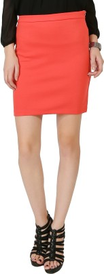 Chimpaaanzee Solid Women's Pencil Orange Skirt