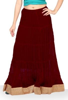 Carrel Solid Women's Wrap Around Maroon Skirt