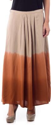 House of Tantrums Printed Women's Pleated Beige, Orange Skirt