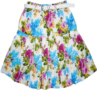 Sweet Angel Floral Print Girl,s Pleated Blue Skirt