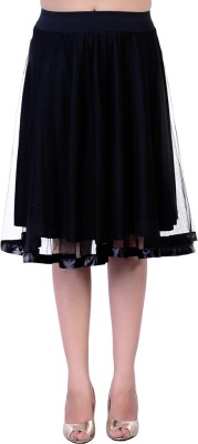 Divaz Fashion Solid Women's A-line Black Skirt
