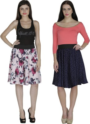 Shopingfever Printed Women's A-line Pink, Dark Blue Skirt