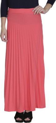 Svt Ada Collections Solid Women's Pleated Pink Skirt