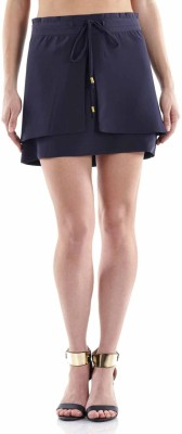 Fuziv Solid Women's Regular Blue Skirt