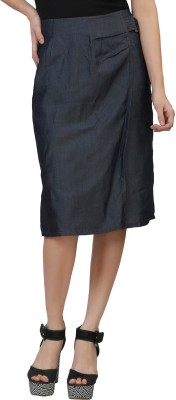 MansiCollections Solid Women's A-line Blue Skirt