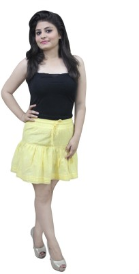 CrazeVilla Self Design Women's A-line Yellow Skirt
