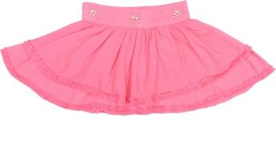Ten on Ten Solid Girl's A-line Pink Skirt