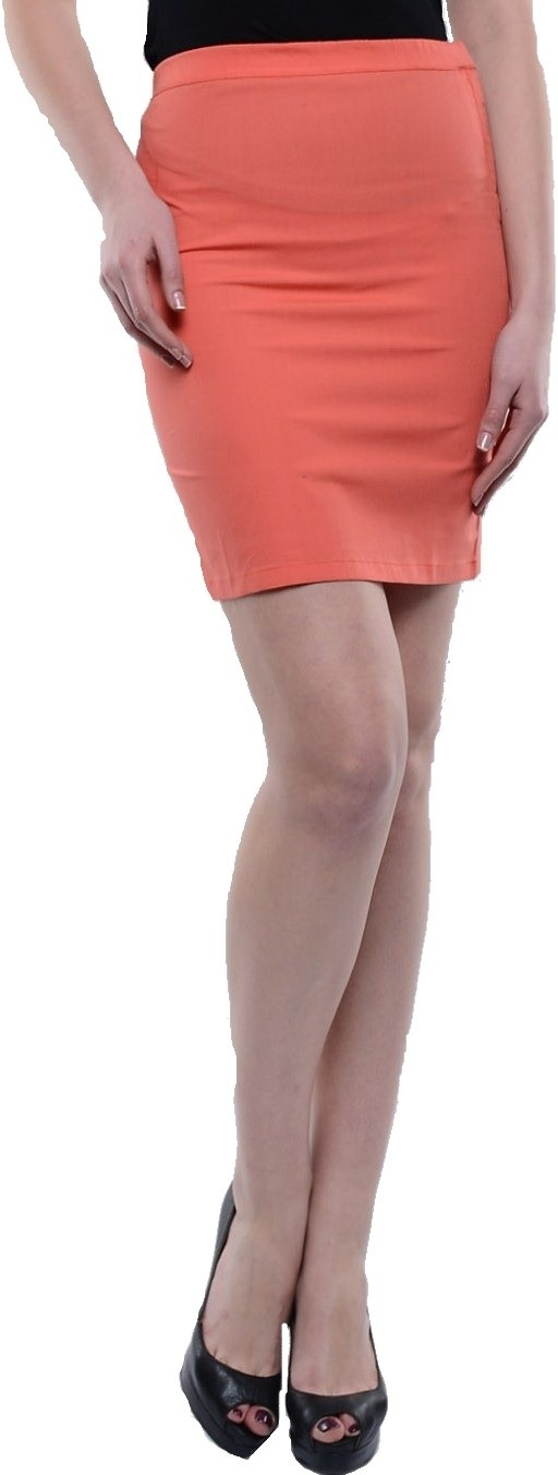 Cottinfab Solid Womens A-line Orange Skirt