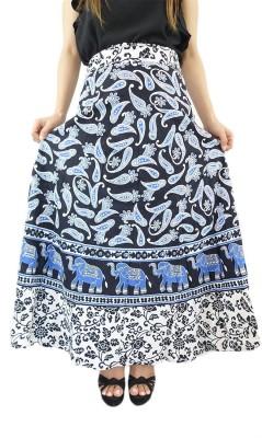ShopMore Printed Women's Wrap Around Black Skirt