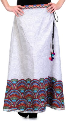 Lmode Printed Women's A-line White Skirt
