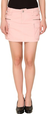 Alibi By Inmark Solid Women's A-line Pink Skirt