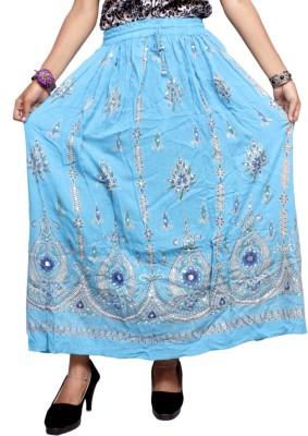 Krishna Mart Embroidered Women's Regular Blue Skirt