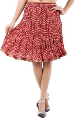 Desert Eshop Printed Women's Pleated Maroon Skirt