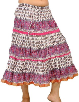 Indiangiftemporium Printed Women's Regular White, Pink Skirt