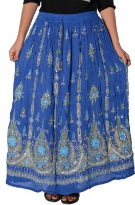 Fashionmandi Printed Women's A-line Blue Skirt