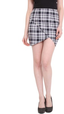 Pera Doce Checkered Women's A-line Black Skirt