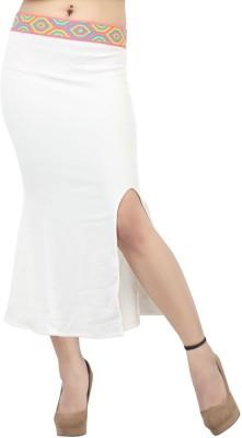 FamGlam Printed Women's Straight White Skirt