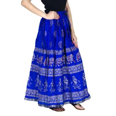 Ooltah Chashma Printed Women's Straight Dark Blue Skirt