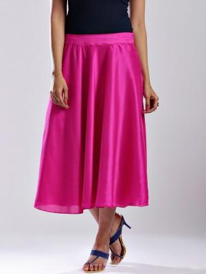 Anouk Solid Women's A-line Pink Skirt