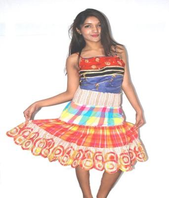 Blueuno Beachwear Applique Women's Layered Multicolor Skirt