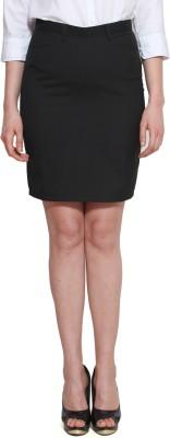 Lee Marc Solid Women's Pencil Black Skirt