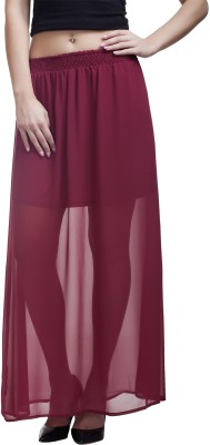 MansiCollections Solid Women's Straight Maroon Skirt