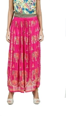 PINK SISLY Printed Women's Layered Pink Skirt