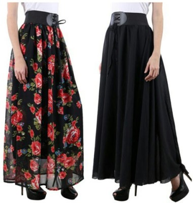 Raabta Fashion Solid, Floral Print Women's A-line Black, Multicolor Skirt