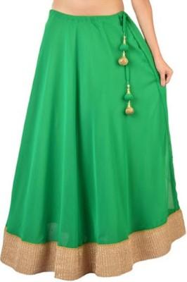 pinksisly Solid Women,s Regular Green Skirt