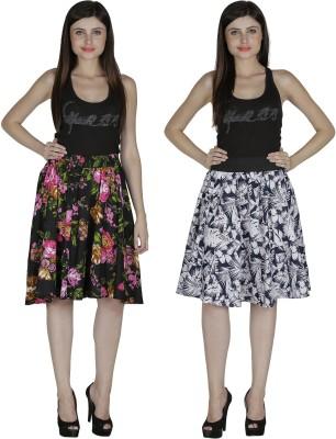 Shopingfever Printed Women's A-line Black, White Skirt