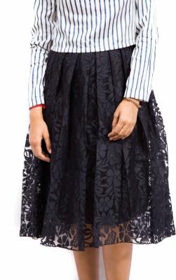 Fadjuice Self Design Women's Pleated Black Skirt