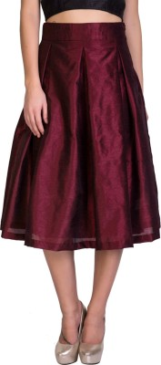 Sugar Her Solid Women's A-line Maroon Skirt