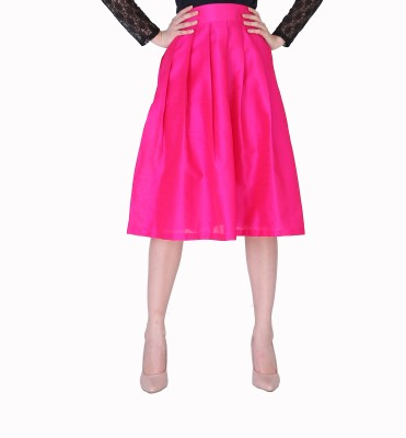 Sugar Her Solid Women's Pleated Pink Skirt