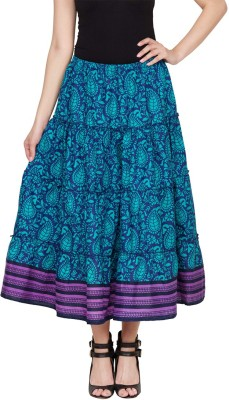 Famous by Payal Kapoor Paisley Women's Gathered Blue Skirt
