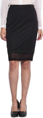 Pera Doce Solid Women's Tube Black Skirt