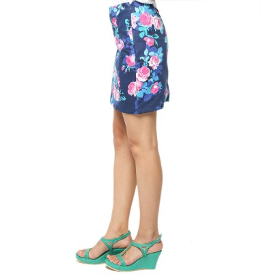 American Swan Floral Print Women's Straight Blue Skirt