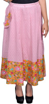 Chidiyadesigns Printed Women's A-line Pink, Orange Skirt