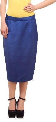 Ladybug Solid Women's Pencil Blue Skirt