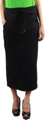 Envy Solid Women's Pencil Black Skirt