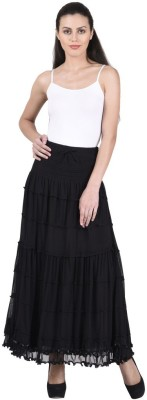 Numbrave Solid Women's Gathered Black Skirt
