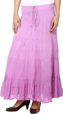 Eves Pret A Porter Solid Women's A-line Purple Skirt