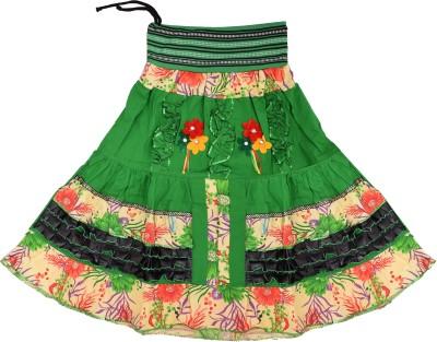 Adaab Floral Print Girl's Layered Green Skirt