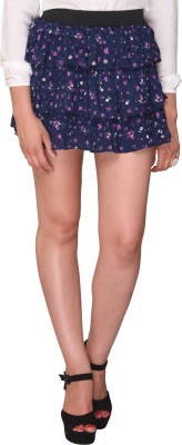 Bedazzle Floral Print Women's Tiered Blue, Purple Skirt
